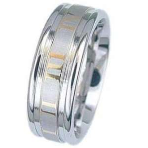 Stainless Steel Ring With Gold Color Roman Numerals around the Band