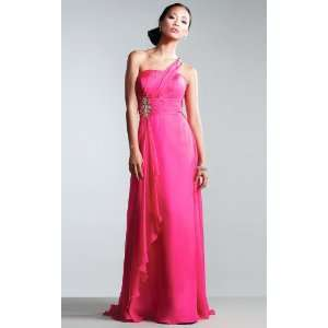 Allure Fuchsia Chiffon One Shoulder Sleeveless Sheath Floor length