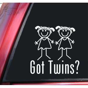 Got Twins? Girl/Girl White Vinyl Decal Sticker Automotive