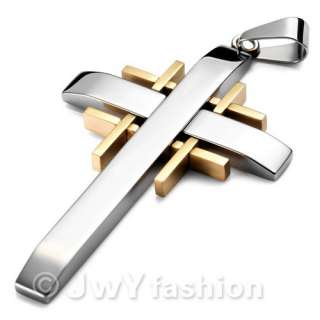 Cross Gold MENS Stainless Steel Pendant Necklace vj789