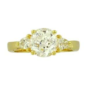 Yellow Gold Plated Sterling Silver Cubic Zirconia Past