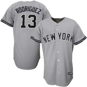 York Yankee Jersey  Majestic New York Yankees #13 Alex Rodriguez Grey