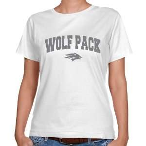 NCAA Nevada Wolf Pack Ladies White Logo Arch Classic Fit T shirt