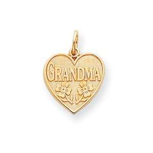 14k Grandma Heart Charm   Measures 21.7x15.8mm   JewelryWeb Jewelry