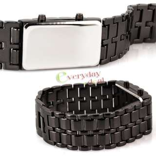 Mens Special Unique Black Lava Stainless Steel Bangle Quartz LED