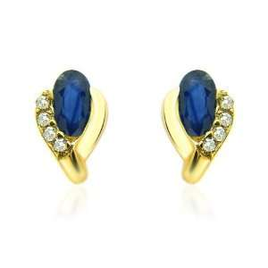 9ct Yellow Gold Sapphire & Diamond Earrings Jewelry