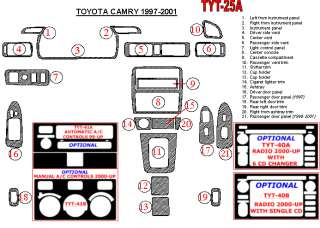 Toyota Camry 97 01 Interior Dashboard Dash Wood Trim Kit Parts FREE