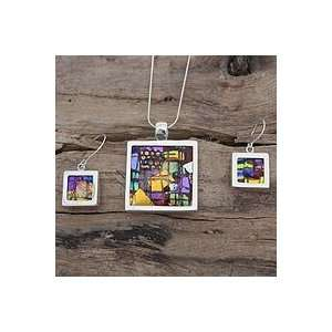 NOVICA Art glass jewelry set, Seasonal Abstract Jewelry