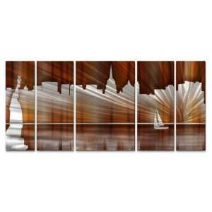 New York City Skyline Abstract painting on metal wall art by artist