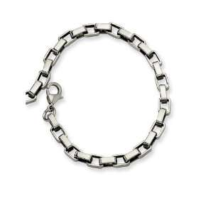 Mens Thin Stainless Steel 8 Square Link Chain Bracelet