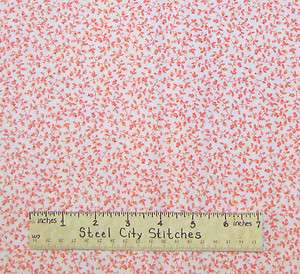 Jo Ann Light Pink Floral Flower Vine on White Cotton Fabric BTY