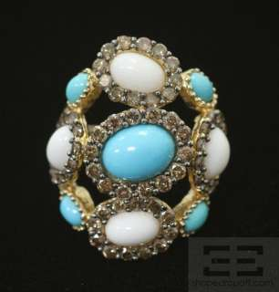 Carlo Viani 14K Yellow Gold Chocolate Diamond, Turquoise And Agate