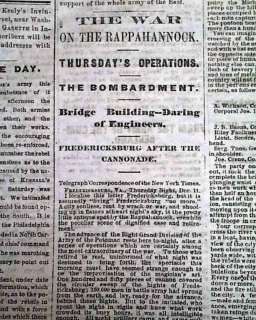 FREDERICKSBURG VA1862 Cincinnati OH Civil War Newspaper