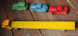 Vintage TOOTSIETOY Pre War AUTO TRANSPORT Trailer Mack Truck 3 Cars