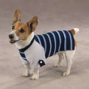 XXS Blue Athletic Fit Rugby Striped Dog Shirt Pet