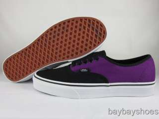 VANS AUTHENTIC BLACK/PURPLE CLASSIC SKATE MEN ALL SIZES