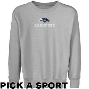 Nevada Wolf Pack Youth Ash Custom Sport Logo Applique Crew