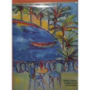 Table Chairs Wine Palm Trees Note Cards w/ Envelopes