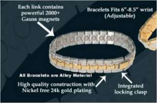 Two 2 Toned Gold Plated Silver Magnetic Bracelet Copper