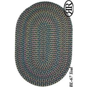 Collection Teal Blue Braided Nylon Area Rug 4.00.