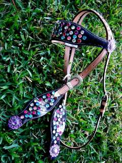 HORSE BRIDLE WESTERN LEATHER HEADSTALL RAINBOW CRYSTALS BLING RODEO