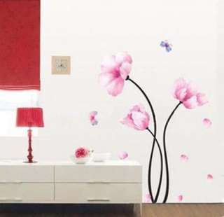 Pink Flower 2 Butterfly Fashion Art Mural Vinyl Wall Sticker Decal