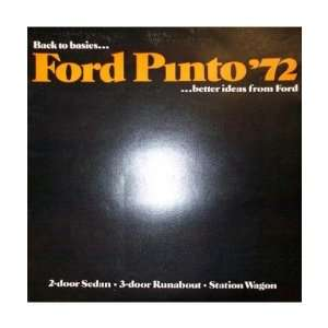 1972 FORD PINTO Sales Brochure Literature Book Piece Automotive