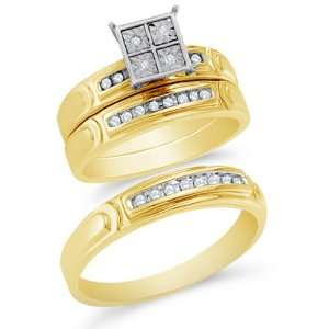 Size 5   10K Yellow Gold Diamond Mens and Ladies Couple His & Hers