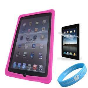 Silicone Skin Pink Case for Apple iPad + Anti Glare Screen