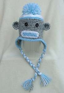 Handmade Crocheted Baby/Toddler Sock Monkey Hat *You Choose Size