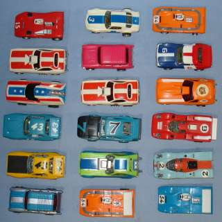 AURORA AFX SLOT CAR RACING RUNNERS LOT 18 BODIES CHASSIS HOODS ROOFS