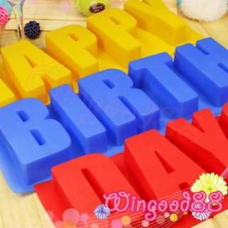 Silicone Letter Happy Birthdays Chocolate Candy Muffin Cake Mold Maker