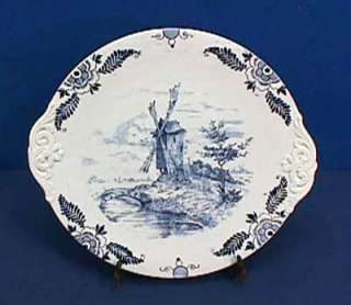 Royal Bonn Delft Blue + White Cake Plate Windmill 12