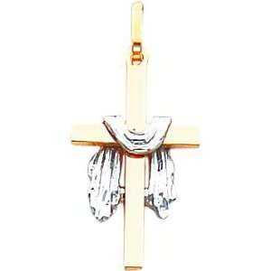 14K Two Tone Gold Cross & Shroud Pendant Jewelry
