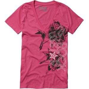 Fox Racing Womens Rockstar Showbox V Neck T Shirt   Medium/Fuchsia