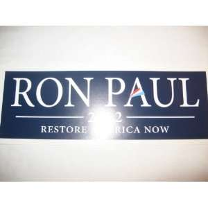 Ron Paul 2012   Restore America Now Bumper Sticker [Large, Rectangle