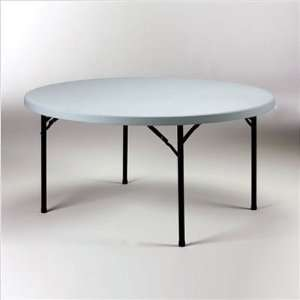 Valuelite Blow Molded Round Folding Table with Stone Grey