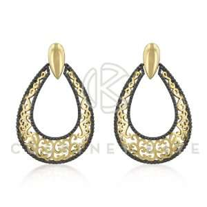 Courtney Kaye 14k Gold Hematite Bonded Pear Shape Earring