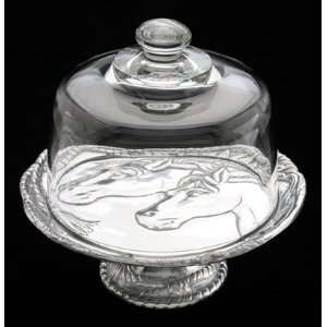 Arthur Court Horse Plate with Glass Dome