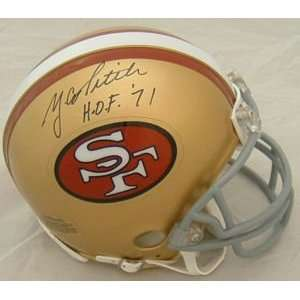 YA TITTLE SIGNED SAN FRANCISCO 49ers MINI HELMET W/HOF