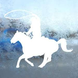 Cowboy Roping White Decal Car Laptop Window Vinyl White