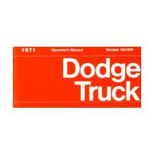 1971 DODGE LIGHT DUTY TRUCK Owners Manual User Guide