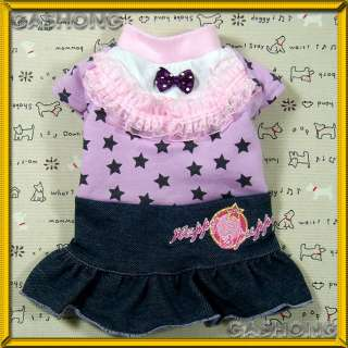 Dog Clothing E166,Lace&Ribbon Denim Dress Jean Skirt