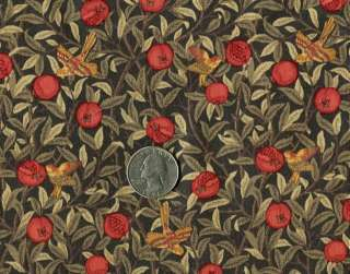 Rose & Hubble WILLIAM MORRIS Fabric RED & GOLD BIRDS
