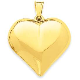 14K Yellow Gold Largest Puffed Heart Charm Pendant 4 grams
