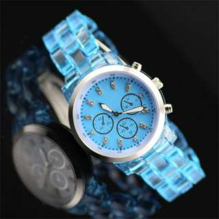 Lady Men Transparent Plastic Band Big Case Wrist Watch Blue