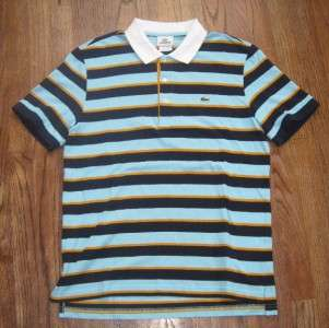 MENS LACOSTE STRIPED PIQUE CLASSIC POLO DRESS SHIRT   SIZE 4 (SMALL