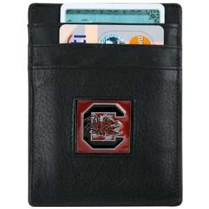 South Carolina Gamecocks Black Leather Money Clip and Business Card