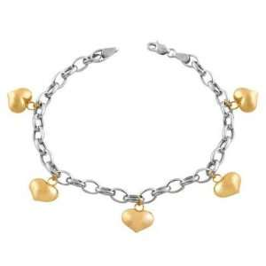 14K Two Tone Gold Puff Heart Charm Bracelet Katarina Jewelry