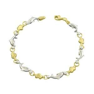 10K Two Tone Gold Heart and Dolphin Link Bracelet Katarina Jewelry
